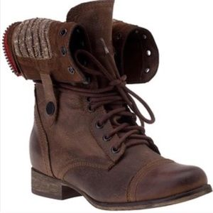 STEVE MADDEN CABLEE LEATHER COMBAT BOOTS 9 EUC
